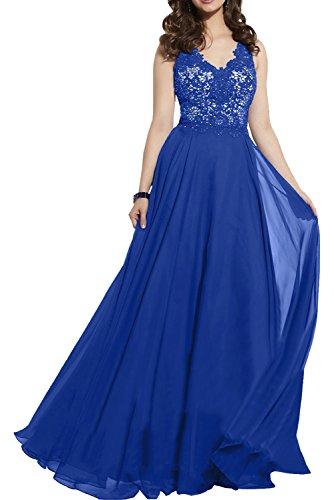 Chiffon Kleider Royal Charmant Royal Abendkleider Damen Hell Brautmutterkleider Elegant Spitze Damen Blau Blau Festliche xRwxFI4q