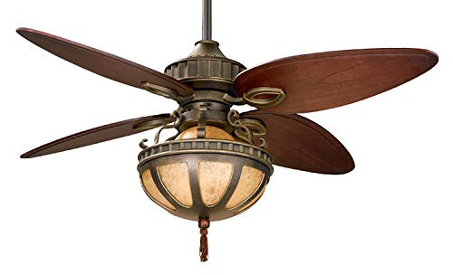Fanimation LB230VZ Bayhill Ceiling Fan, Venetian Bronze Finish, 5 Cairo Purple Blades, Dual Glass Bowl