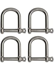 """Extreme Max 3006.8234.4 BoatTector Stainless Steel Wide D Shackle - 1/2"""", 4-Pack"""