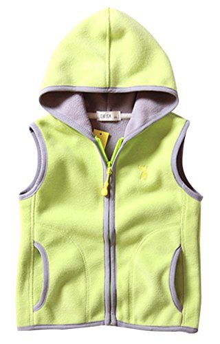 Girls Winter Waistcoat Zipper Up Slant Pockets Sleeveless Windcoat for Unisex Kids 7-8T Green
