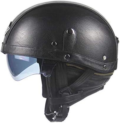 casco jet retro de piel
