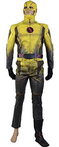 Reverse Flash Cosplay Costume Suit Cosplay Jumpsuit (Large) by caleshop