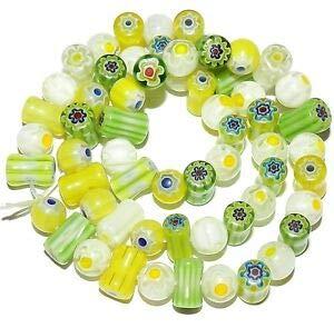 Millefiori Glass Beaded Bracelet - Steven_store G3480 Green Yellow White Single