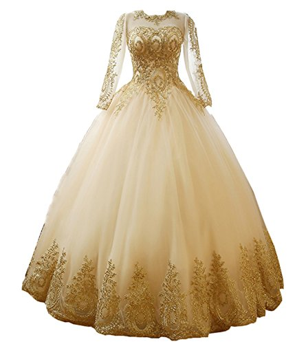 Bonnie_Shop Bonnie Women's Gold Lace Appplique Quinceanera Dresses Long Sleeves Girl's Prom Ball Gown BS027