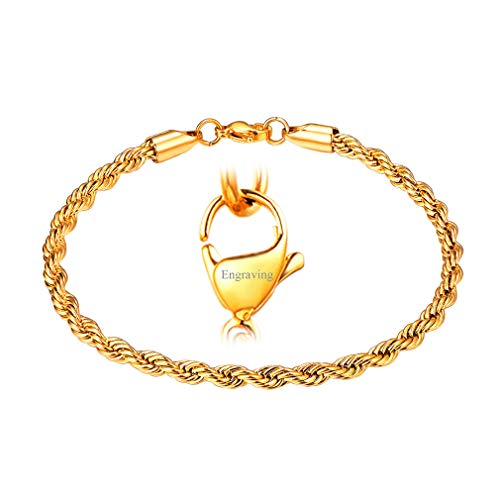 FaithHeart 3MM Personalised Engraving Twisted Rope Chain Bracelet, 18K Gold Plated DIY Hip Hop Bracelet for Men/Women, Gift for Mother/Father Customize Available (Send Gift ()