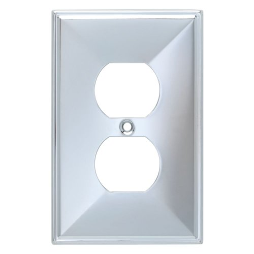 Chrome Outlet (Franklin Brass 135875 Beverly Single Duplex Outlet Wall Plate / Switch Plate / Cover)