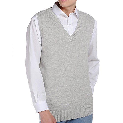 Uniform Cardigan School Sweater (Bingooutlet Men Women Knitted Cotton V-Neck Vest JK Uniform Pullover Sleeveless Sweater School Cardigan)