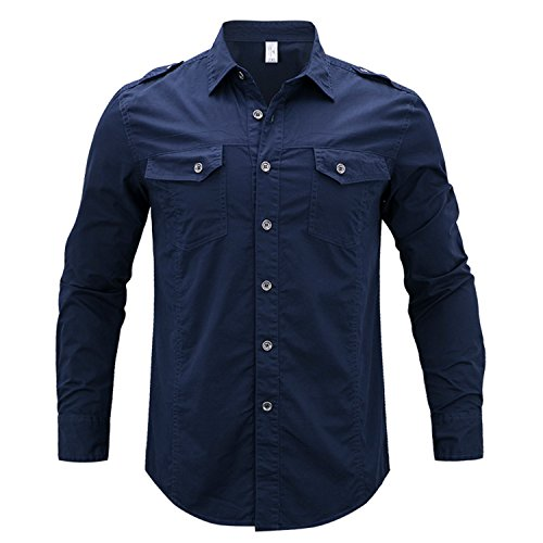 Price comparison product image NeeKer Jacket one Men's Casual Brand Long Sleeves Shirt Man 100% Pure Cotton Khaki Shirts M-5XL Blue M