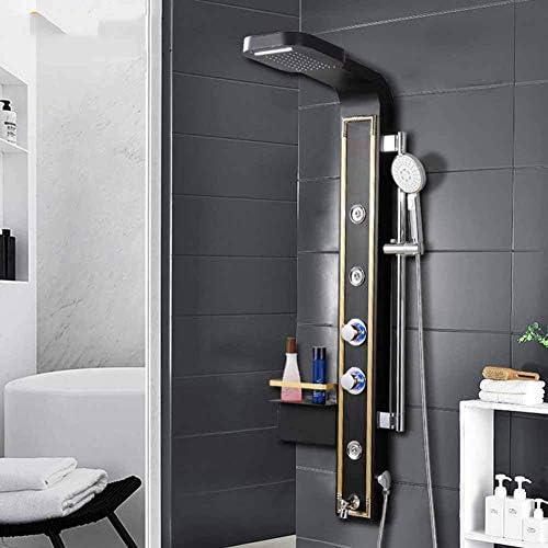 Sistema ducha, conjunto paneles ducha Color mampara ducha Conjunto ducha europea Generador vapor con luz LED Columna ducha Ducha Boquillas multifuncionales Masaje SPA Temperatura del chorro (color: Amazon.es: Deportes y aire libre