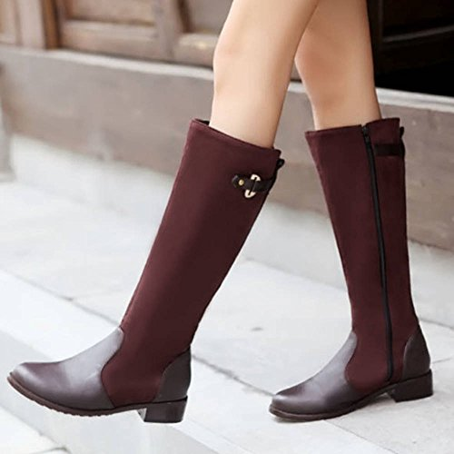 Match Knee Heel 4 Size Boots Onewus Plus Flat High colors with Mini Boots Available Women with All Brown 5qA4vS