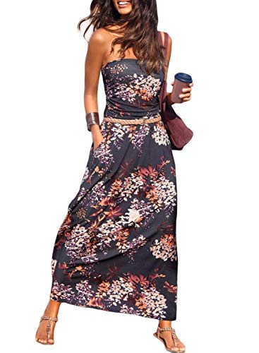 Happy Sailed Womens Summer Strapless Maxi Dress Pleated Casual Party Tribal Beachwear Dresses with Pockets Large Flower ()
