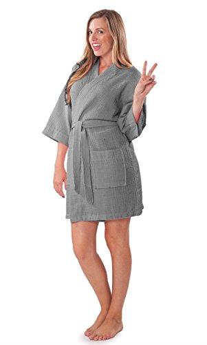 (Turquaz Linen Lightweight Knee Length Waffle Kimono Bridesmaids Spa Robe (Gray, Large))