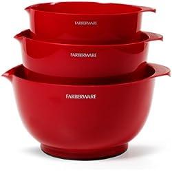Farberware Classic Plastic Mixing Bowls, Red Set of 3