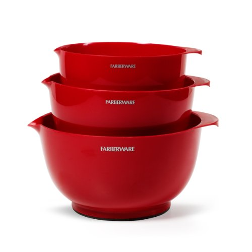 Farberware Classic Plastic Mixing Bowls, Red Set of