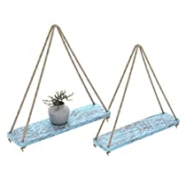 """Rustic Set of 2 Wooden Floating Shelves with String – Farmhouse Hanging Shelves for Living Room Wall – Small Kitchen Shelves with Rope – 17""""x5.2"""" – Distressed"""