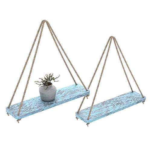 (Rustic Set of 2 Wooden Floating Shelves with String - Farmhouse Hanging Shelves for Living Room Wall - Small Kitchen Shelves with Rope - 17