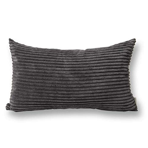 12x12 Corduroy - Jeanerlor Corduroy Throw Pillow Cover Cushion Case from Home Decor Meeting Room, 12x20 inch (30 x 50 cm), Dark Grey