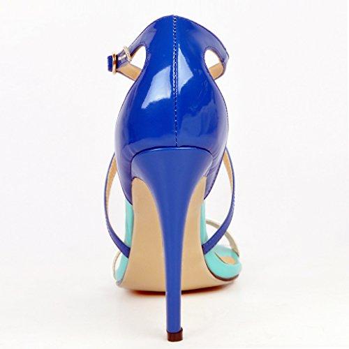 Kolnoo - Zapatos con tacón Mujer Azul