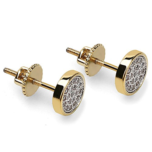 SHINY.U Men's 7mm Circle Gold and Silver Micro Pave CZ Screw Back Stud Earrings -