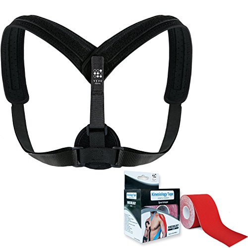 Shoulder Posture Corrector for Women Men | Adjustable Back Clavical Support Brace | Controls Postural Correction + Kinesiology Tape for Muscle Support + eBook on Improving Life by Veve Store™