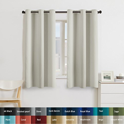 Turquoize Solid Blackout drapes, Room Darkening, Greyish White, Themal Insulated, Grommet/Eyelet Top, Nursery/Living Room Curtains Each Panel 42