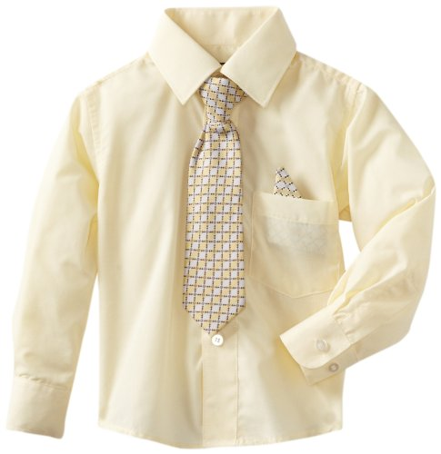 American Exchange Little Boys' Little Dress Shirt With Tie And Pocket Square, Off White, 6]()