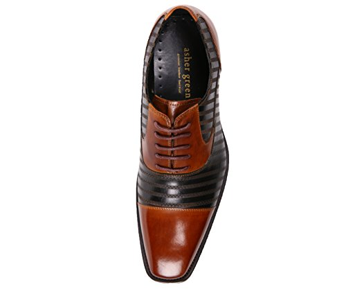 Asher Green Mens Puntale Bicolore In Pelle Con Cucitura A Zig Zag, Stringate Oxford, Stile Ag523 Cognac