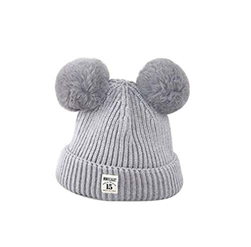 Creative Home Supplies Children Winter Plush Ball Ears Knit Beanie Embroidery Hat Warm Earflap Cap Deserve to Buy (Color : Gray) ()