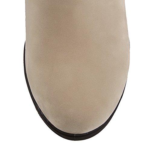 Allhqfashion Womens Low-top Pull-on Gessati Tacco A Spillo Stivaletti Tondi Chiusi Beige