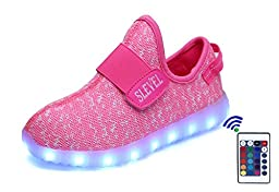 SLEVEL 16 Colors Breathable LED Light Up Shoes USB Sneakers for Kids Boys Girls(S33Pink36)