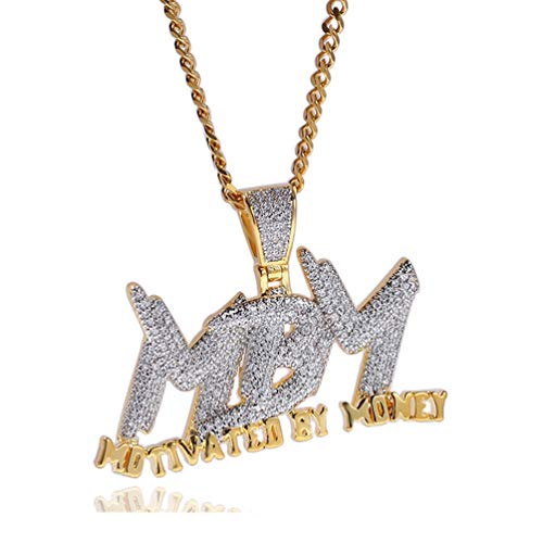 Halin Dre Hip Hop DJ Plated 18K Gold Ice Out Crystal Letter Tag Pendant Stainless Steel Chain Necklace(Gold) (Crystal Hop Hip Jewelry)