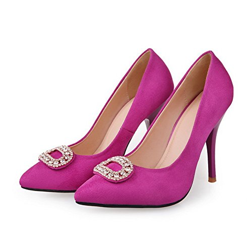 High PU Stilettos with Frosted Solid Rhinestone Womans UK Closed Pumps Vouge001 Pointed Spikes 3 Toe Toe Heel Rosered UHXAxqBwz