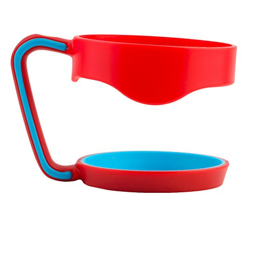 Portable Double Cup Handle for 30 Oz Cup Tumbler Coffee Mug Rambler Travel Drinkware Hand Holder Car Vacuum Insulated Cup Red