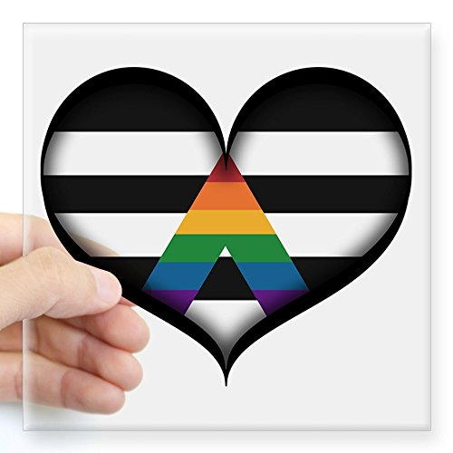 CafePress - LGBT Ally Heart Sticker - Square Bumper Sticker Car Decal, 3