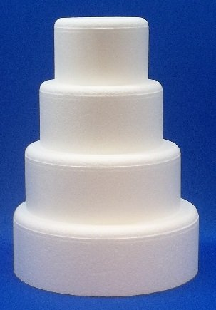4 Piece Cake Dummy Set, Round with Rounded Edges 4 Thick by 6, 8, 10, 12