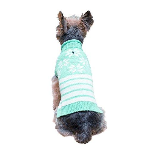 Stinky G Aqua Green snowflakes Sleeveless Dog Pet Sweater Medium #12