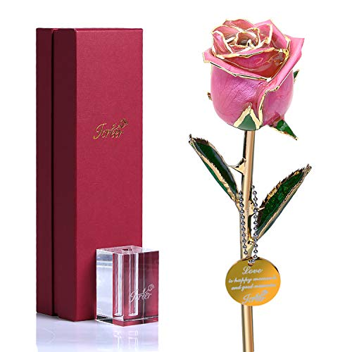Icreer 24k Gold Dipped Pink Rose Flowers with K9 Crystal Stand Last Forever,Present for Mother's Day/Anniversary/Birthday,Gifts for Her/Mom/Wife/Girlfriend/Women