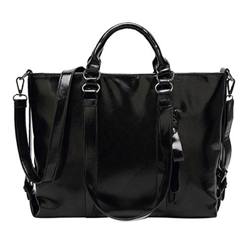 HP95(TM) Casual Vintage Women Leather Handbag Large Capacity Crossbody Shoulder Bag Tote Purse (Black)