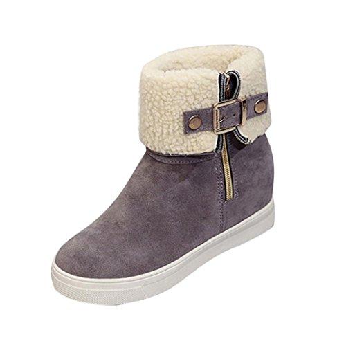 de Zapatos Suave Moda Casual ajustable Anti Clásico Mujer Gris deslizante Invierno de Botas Otoño de Tefamore de d17Yqd