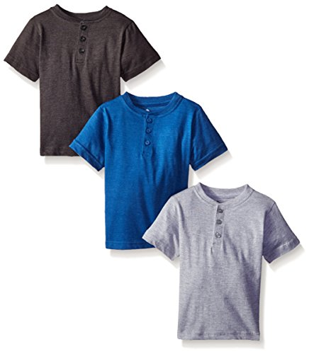 3 Shirts Pack (American Hawk Big Boys 3 Piece Pack Henley Shirt, Marled Royal/Charcoal/Heather Grey,)