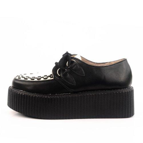Double RoseG Leather Goth Shoes White Platform Creepers Women's Flat Black ttZwxqA6PT