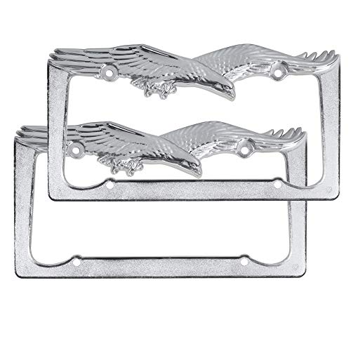 BDK InstaTrim Polished Chrome Metal Eagle License Plate Frames Pair (2pcs) for Car Auto Truck SUV (Diving Eagle)