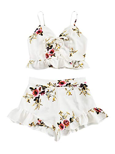 SweatyRocks Women's 2 Piece Outfits Halter Sleeveless Crop Cami Top with Shorts White X-Small