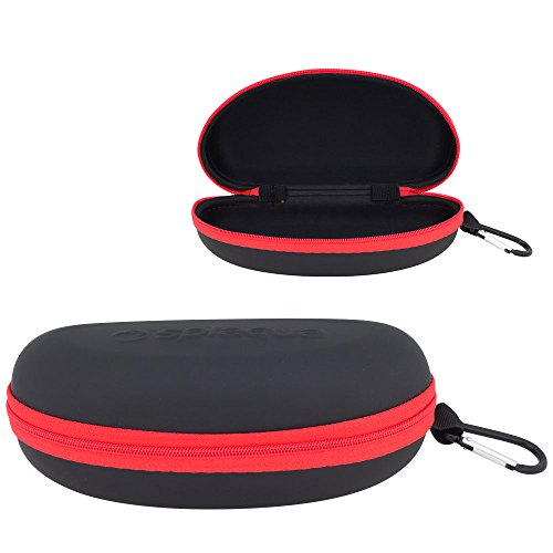 Splaqua Waterproof Sunglasses and Eyeglasses Case - Durable, Hard EVA Zippered Glasses Holder with Back Pack Clip - Red - by