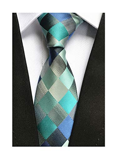 Tonal Tie Silk Blue (Indigo Teal Blue Grey Silk Ties Handsome Handmade Casual Necktie for Mens Youth)