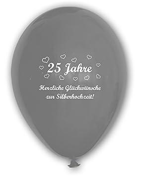 10 Luftballons 25 Jahre Herzliche Gluckwunsche Zur Silberhochzeit