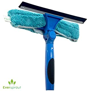 EVERSPROUT Swivel Squeegee and Microfiber Window Scrubber Combo | 2-in-1 Window & Glass Cleaning Tool | Adjustable to Clean from Multiple Angles | Includes 10-Inch Squeegee Blade (No Pole)