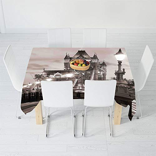 TecBillion Printed Tablecloth,Black and White,for Rectangle Table Kitchen Dinning Party,40.2 X 20.1 Inch,London Theme Tower Bridge in The Famous ()