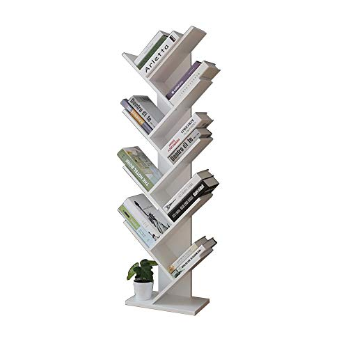 Solid Wood Floor Tree Shape Bookshelf, Creative Art Locker Simple Shelving Unit Ranger Books, CD and Decorative Bedroom Living Room Office (Color : White, Size : 46x20x143.5cm)