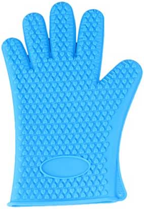 LQZ(TM) Microwave Oven Gloves Silicone Heat Resistant Gloves for Grilling, BBQs, Baking, Smoke Ovens,Unique Maple Leaf Design in Finest Orange Silicone. Extra Long to Cover Wrists (Blue)